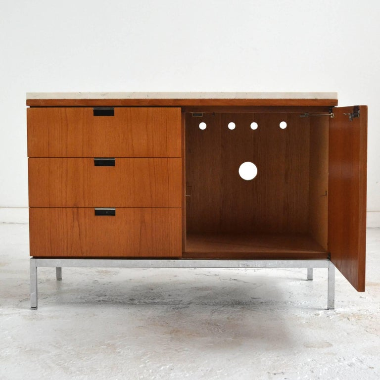 American Florence Knoll Teak Credenzas with Travertine Tops For Sale