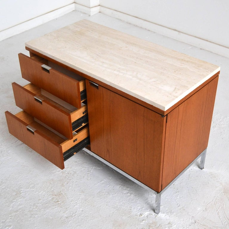 Plated Florence Knoll Teak Credenzas with Travertine Tops For Sale
