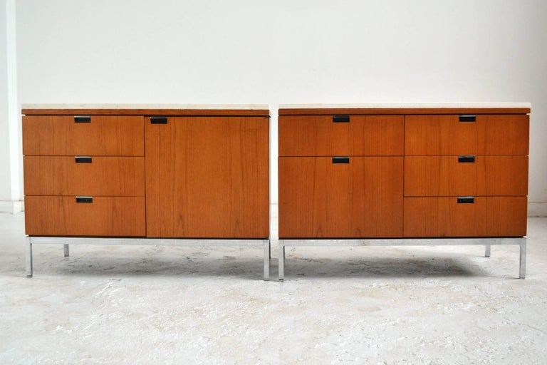 Florence Knoll Teak Credenzas with Travertine Tops In Excellent Condition For Sale In Highland, IN