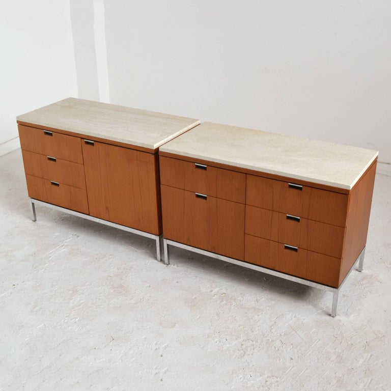 Mid-20th Century Florence Knoll Teak Credenzas with Travertine Tops For Sale