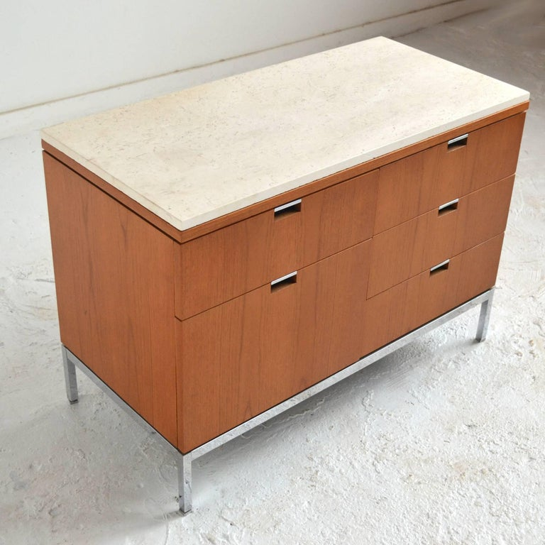 Steel Florence Knoll Teak Credenzas with Travertine Tops For Sale