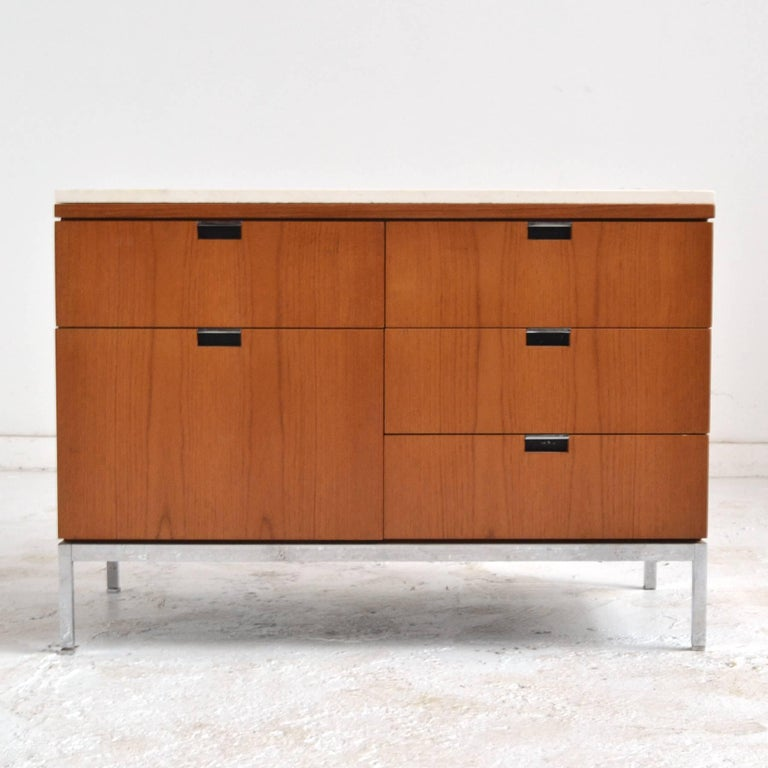 Florence Knoll Teak Credenzas with Travertine Tops For Sale 1