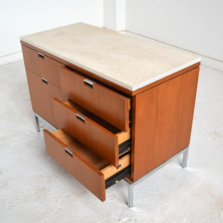 Florence Knoll Teak Credenzas with Travertine Tops 10