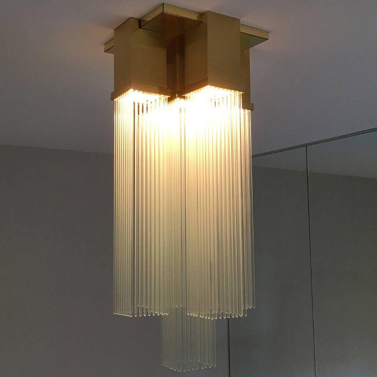 "Gaetano Sciolari for Lightolier ""Skyscraper"" Glass Rod and Brass Chandelier 4"