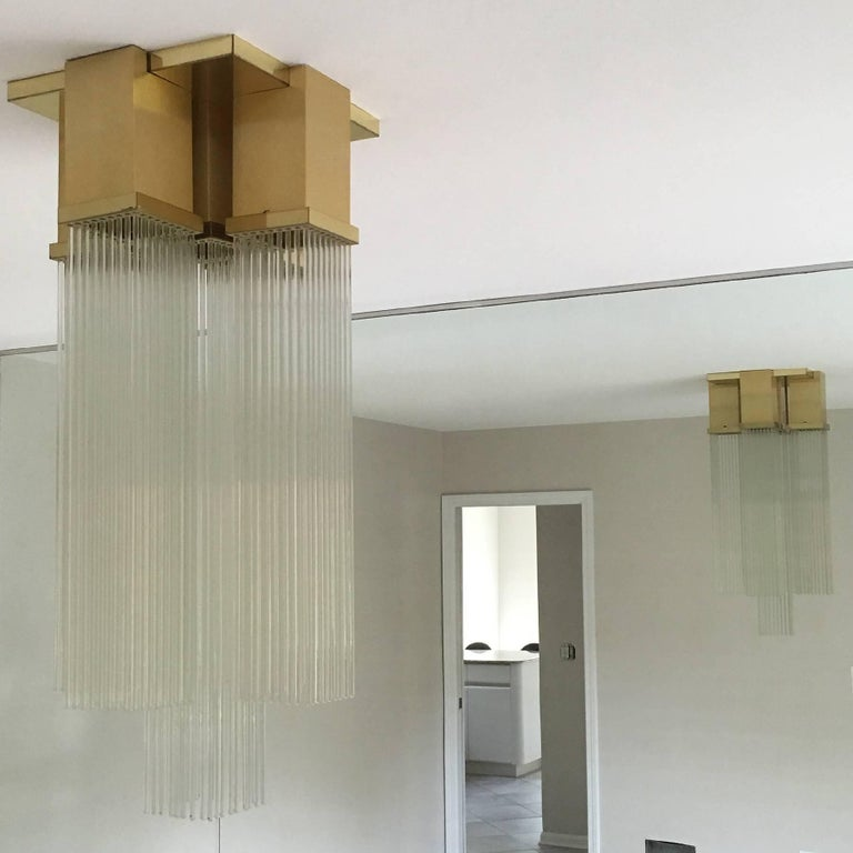 "Gaetano Sciolari for Lightolier ""Skyscraper"" Glass Rod and Brass Chandelier 5"