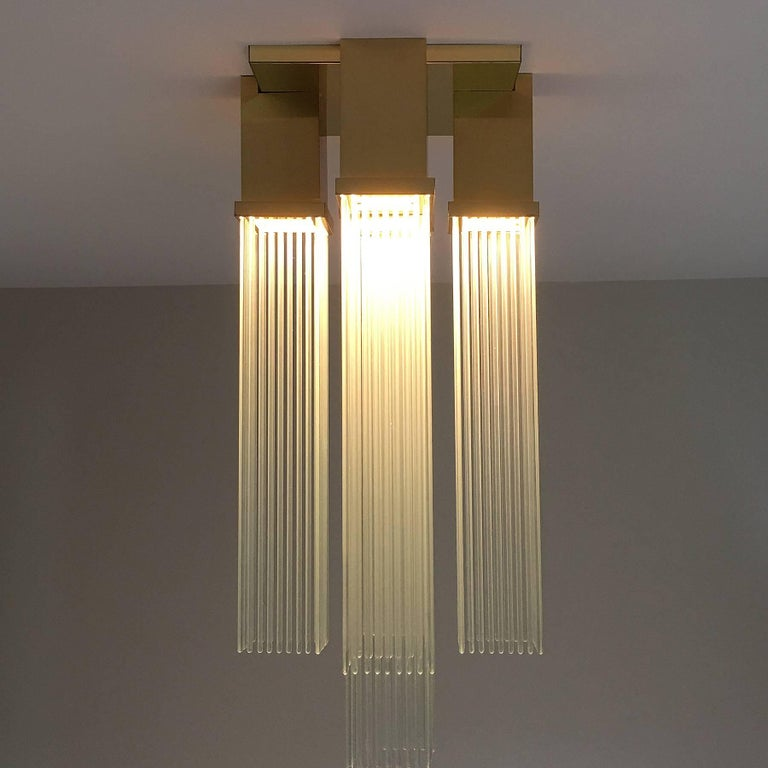 "Gaetano Sciolari for Lightolier ""Skyscraper"" Glass Rod and Brass Chandelier 6"