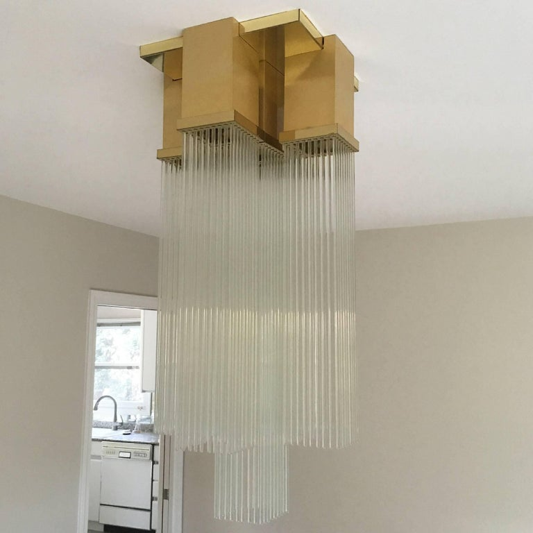 "Gaetano Sciolari for Lightolier ""Skyscraper"" Glass Rod and Brass Chandelier 7"