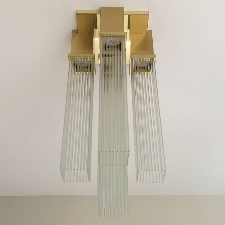 "Gaetano Sciolari for Lightolier ""Skyscraper"" Glass Rod and Brass Chandelier 10"