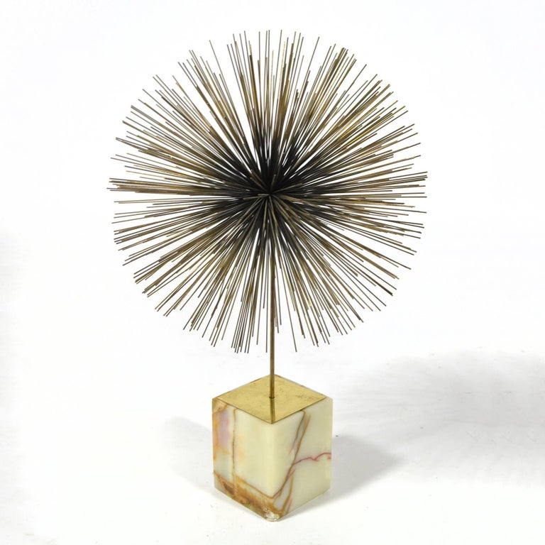 American C. Jeré Dandelion Sculpture with Onyx Base For Sale