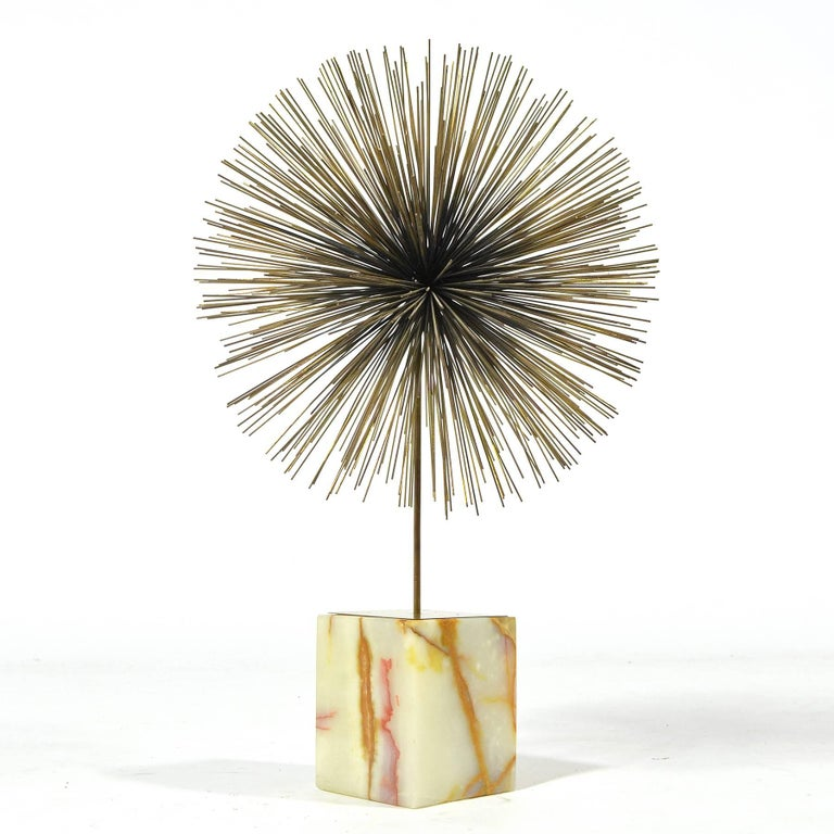 Mid-Century Modern C. Jeré Dandelion Sculpture with Onyx Base For Sale