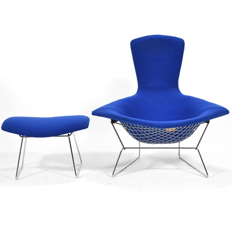 Mid-Century Modern Harry Bertoia Bird Chair and Ottoman by Knoll For Sale