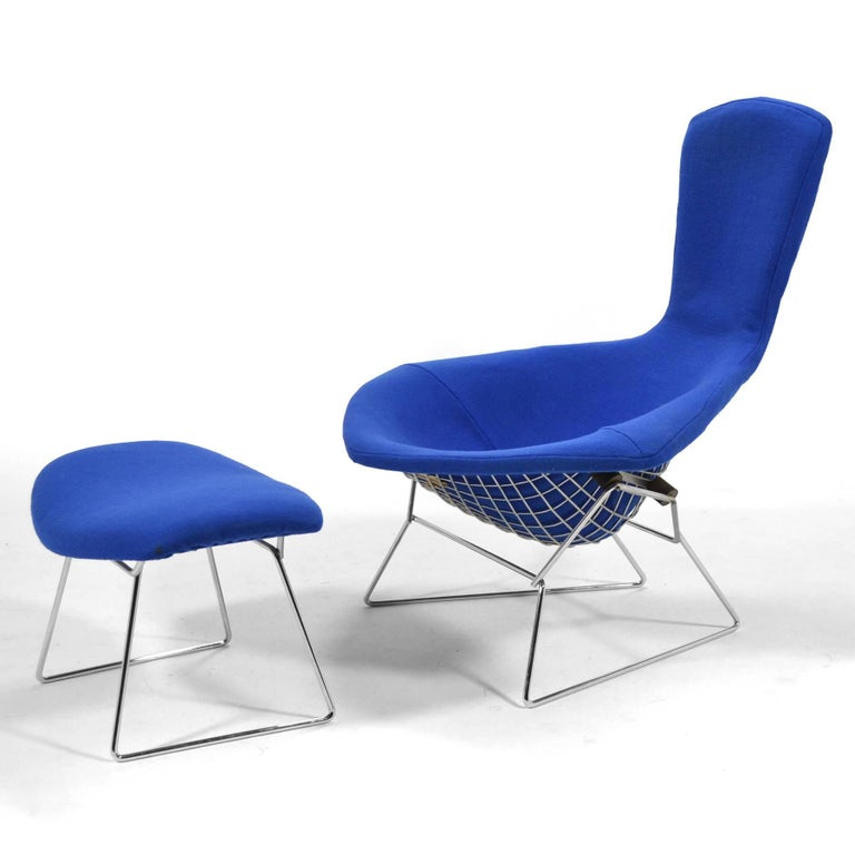 American Harry Bertoia Bird Chair and Ottoman by Knoll For Sale