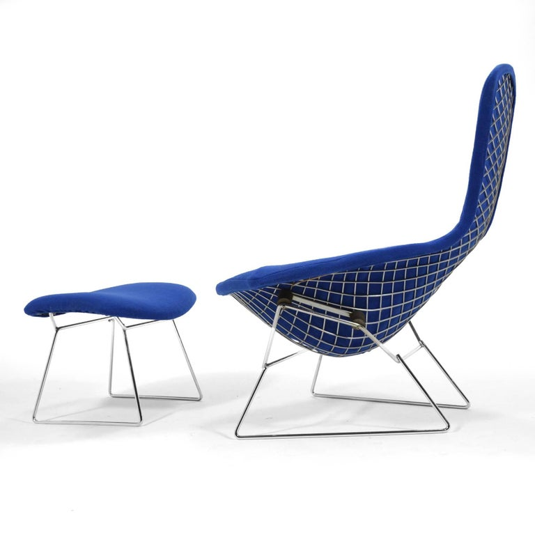 Plated Harry Bertoia Bird Chair and Ottoman by Knoll For Sale