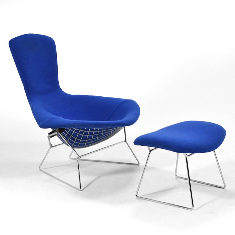 Harry Bertoia Bird Chair and Ottoman by Knoll For Sale 1