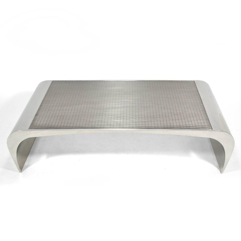 Brueton Selina K. Oversize Stainless Steel Coffee Table For Sale 2