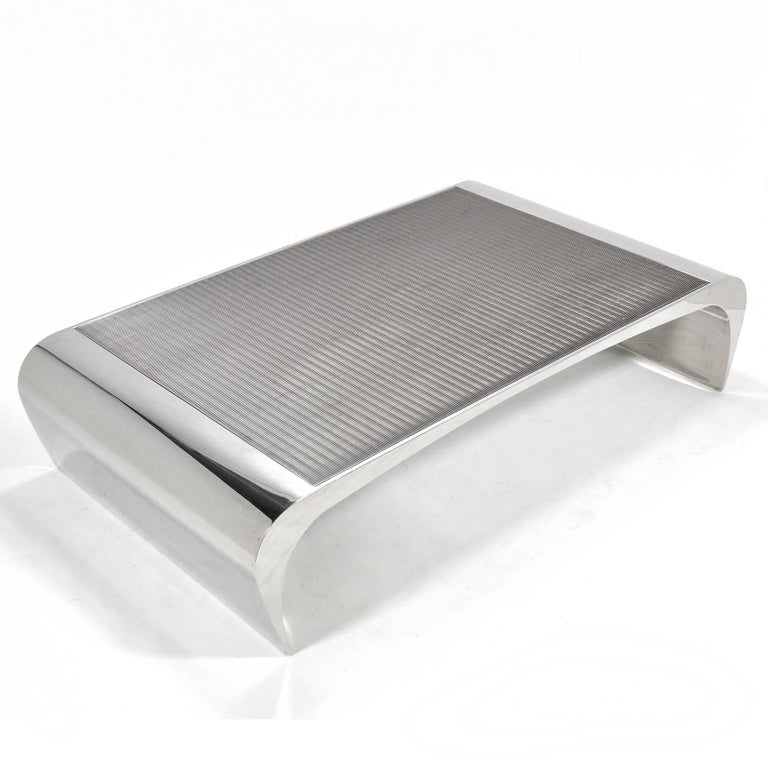 Brueton Selina K. Oversize Stainless Steel Coffee Table In Good Condition For Sale In Highland, IN
