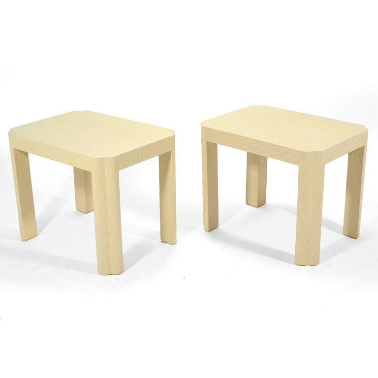 Karl Springer Style End Tables In Good Condition For Sale In Highland, IN