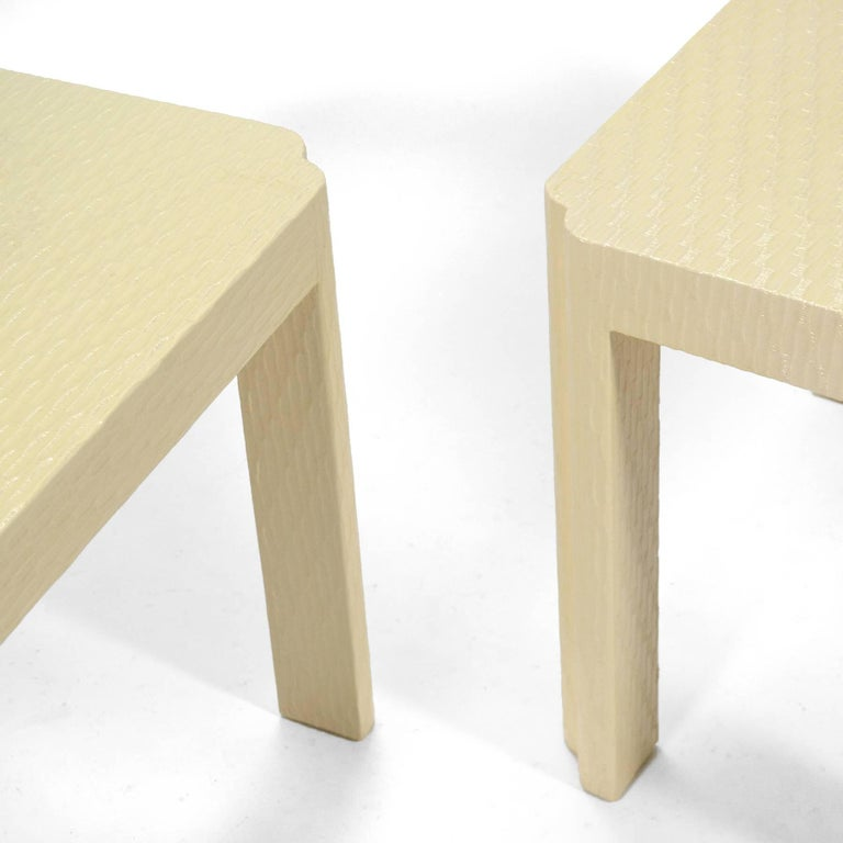 Late 20th Century Karl Springer Style End Tables For Sale