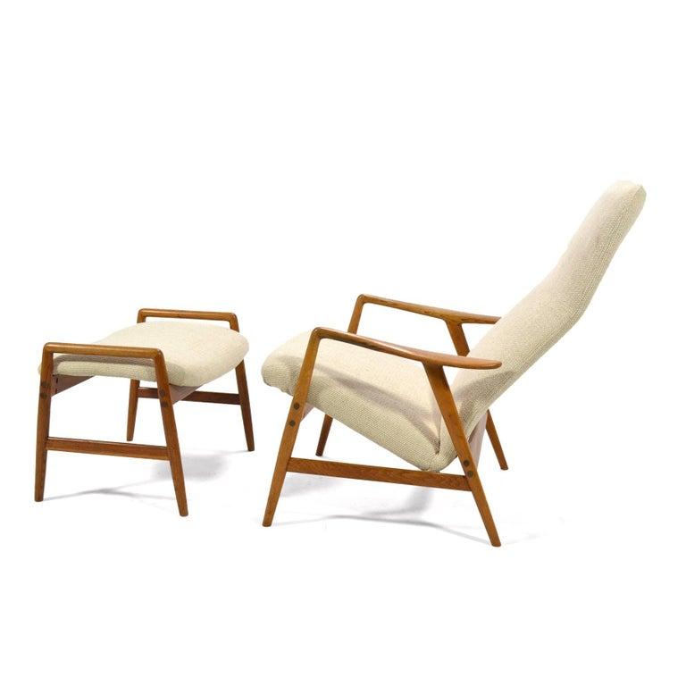 Scandinavian Modern Alf Svensson Kontour Reclining Lounge Chair and Ottoman For Sale