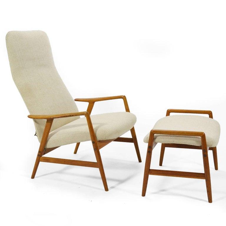 Swedish Alf Svensson Kontour Reclining Lounge Chair and Ottoman For Sale