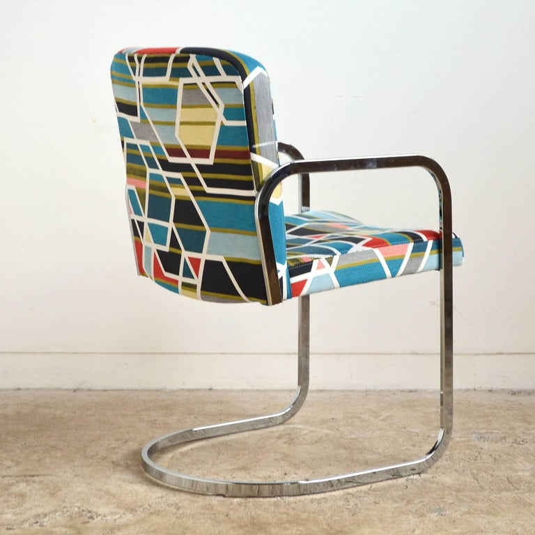 Plated Design Institute of America Set of Four Chairs with Maharam Fabric For Sale