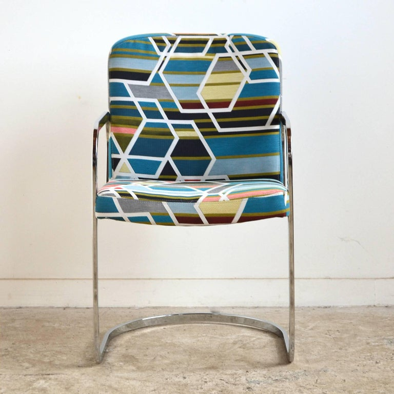Steel Design Institute of America Set of Four Chairs with Maharam Fabric For Sale