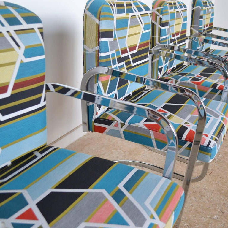 Design Institute of America Set of Four Chairs with Maharam Fabric For Sale 2
