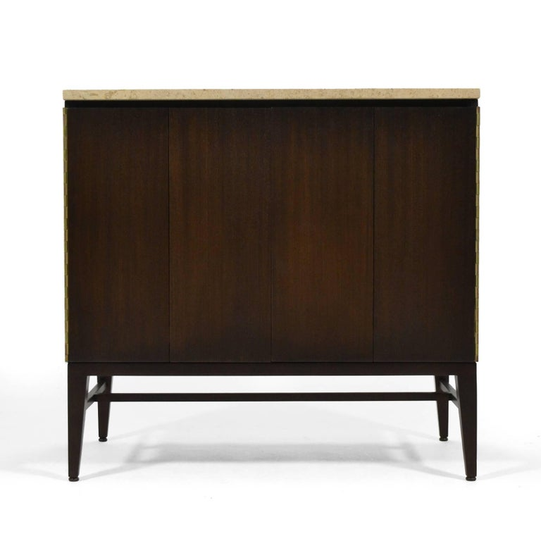 Mid-Century Modern Paul McCobb Cabinets or Credenzas with Travertine Tops by Calvin For Sale