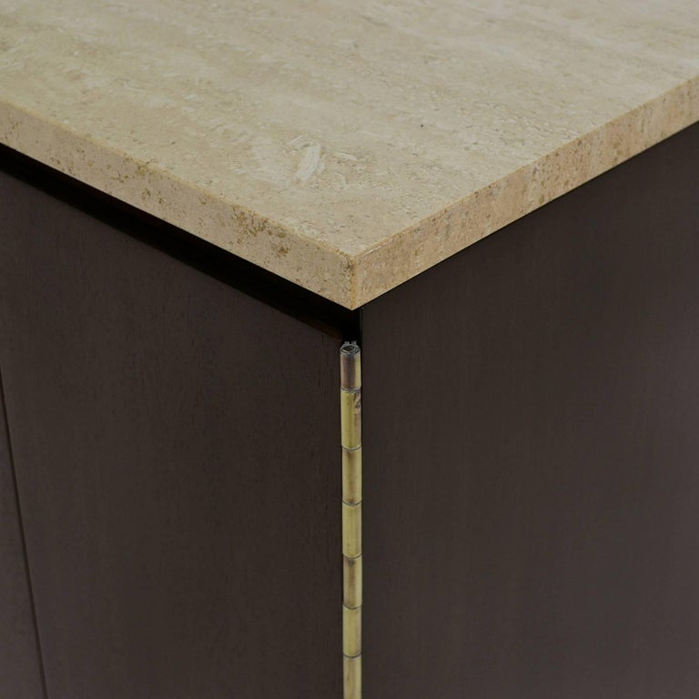 Paul McCobb Cabinets or Credenzas with Travertine Tops by Calvin For Sale 2