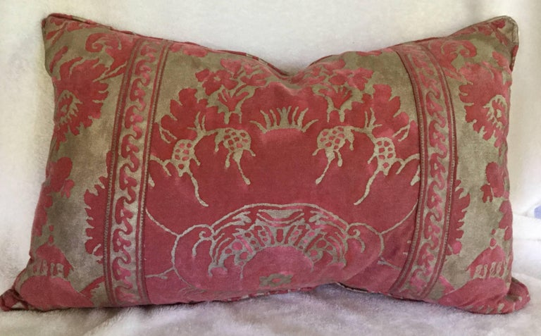 Decorative down-filled red and silver-