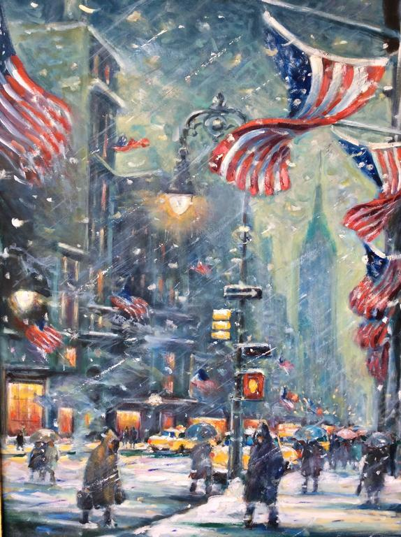 new york snowy night painting by philip corley for sale at 1stdibs. Black Bedroom Furniture Sets. Home Design Ideas