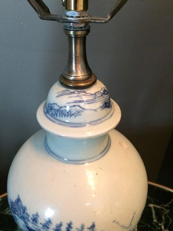 Charming Single Blue and White Chinese Porcelain Jar, Mounted as Lamp In Good Condition For Sale In Palm Beach, FL