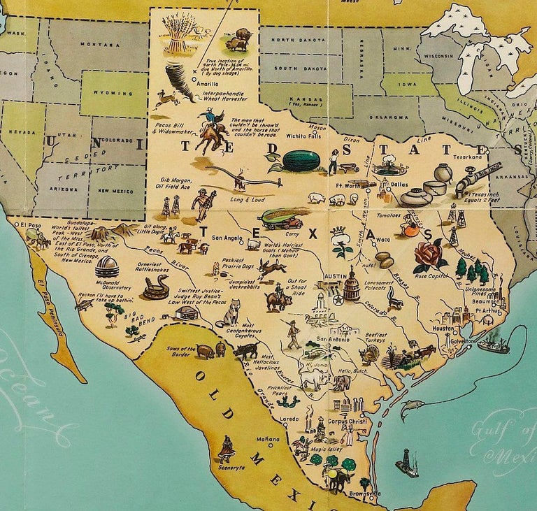 American 1948 Official Texas Brags Map of North America For Sale