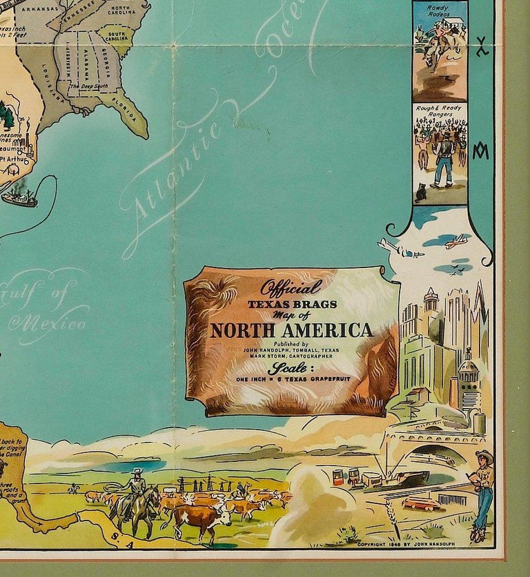 1948 Official Texas Brags Map of North America In Good Condition For Sale In Colorado Springs, CO