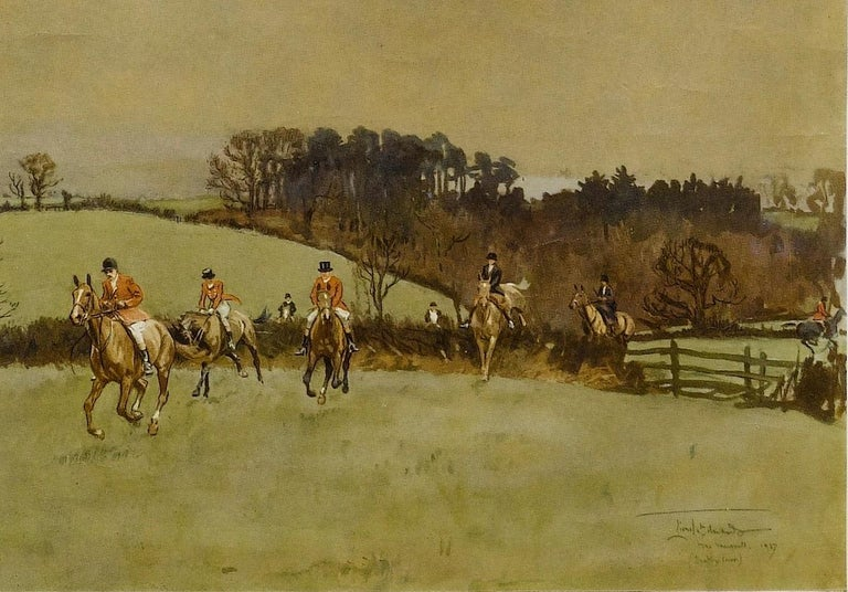 This is a 1937, signed fox hunting print by renowned British sporting artist Lionel Edwards, which is entitled The Meynell at Bantley Carr. The print depicts a Classic British country-hunting scene and has been signed by the artist in the lower left