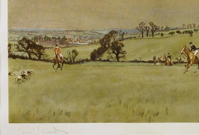 """British """"The Meynell at Bantley Carr"""" Signed by Lionel Edwards, Fox Hunting Print, 1937 For Sale"""