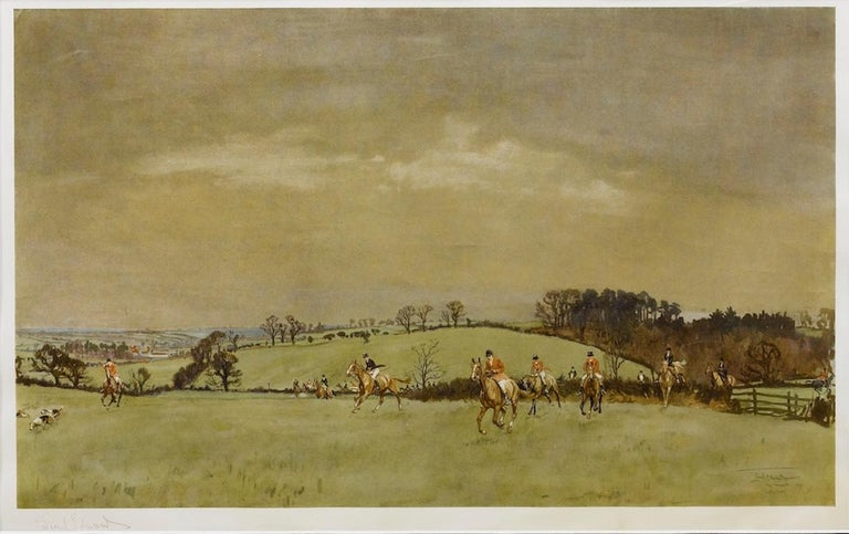"""""""The Meynell at Bantley Carr"""" Signed by Lionel Edwards, Fox Hunting Print, 1937 In Good Condition For Sale In Colorado Springs, CO"""