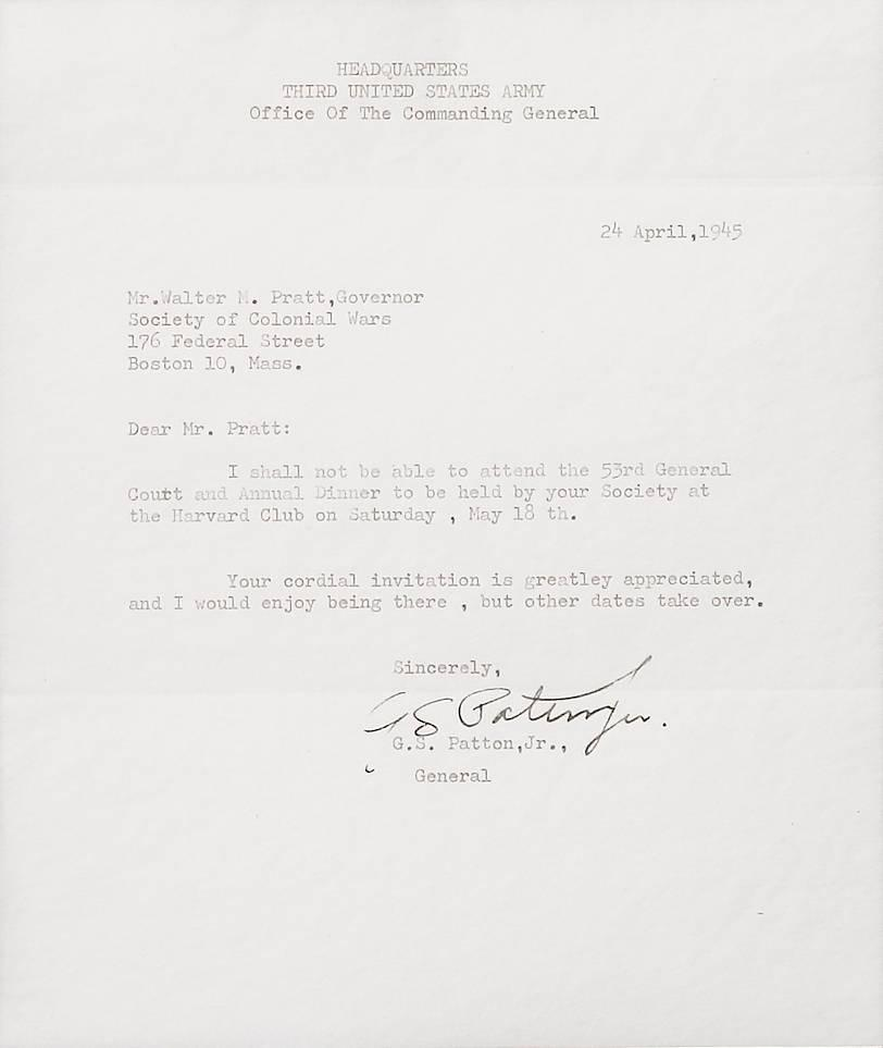 General George Patton Signed Third Army War Dated Letter