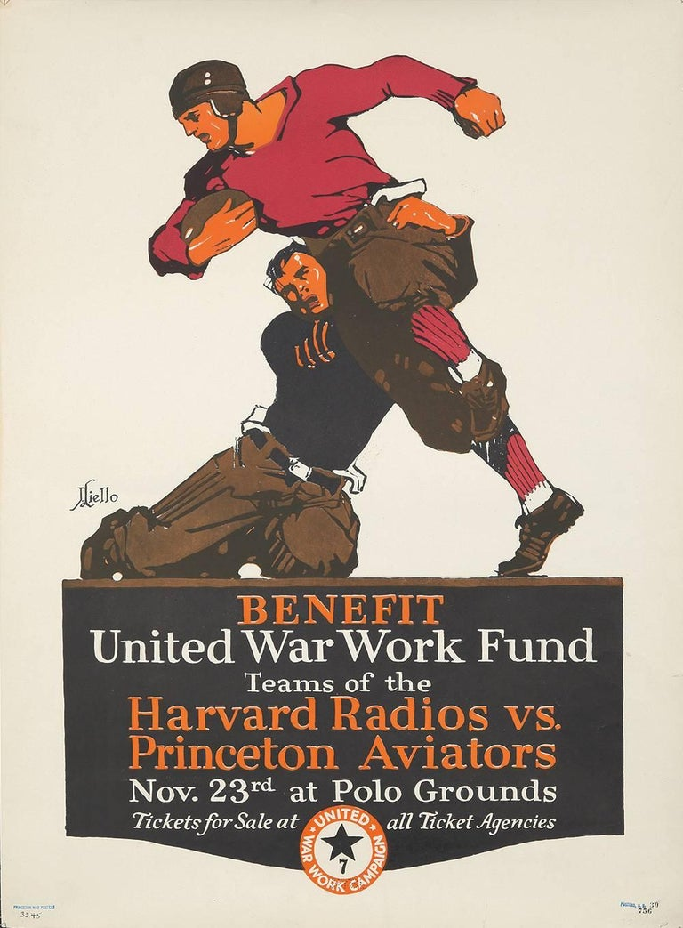 This is a very scarce first World War I Work Relief Fund Poster featuring the Harvard Radios competing against the Princeton Aviators -- this was a benefit football game that raised money for the war effort. The following was written about the match