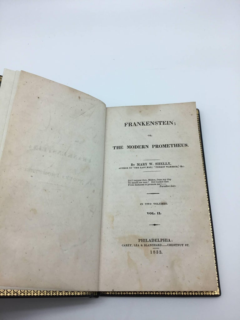 Frankenstein; or, the Modern Prometheus by Mary Wollstonecraft Shelley. Philadelphia: Carey, Lea & Blanchard, 1833. Two volumes bound in full modern calf leather with raised and gilt bands. Presented in a custom leather and cloth clamshell
