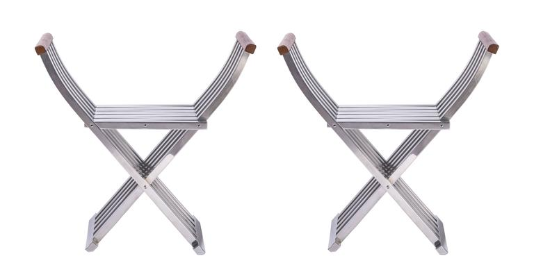 American Pair of Folding Benches - Stools by John Vesey For Sale