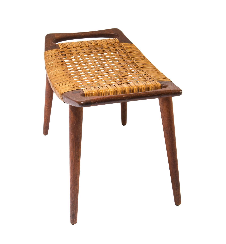 hans wegner teak and cane stool for johannes hansen for. Black Bedroom Furniture Sets. Home Design Ideas