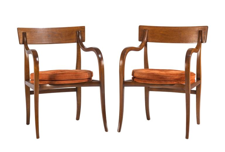 Pair of rare Dunbar Alexandria occasional chairs, model 6004, designed by Edward Wormley. One of the most sculptural and elegant chairs created by Wormley. Seats with original brown suede. Labeled.