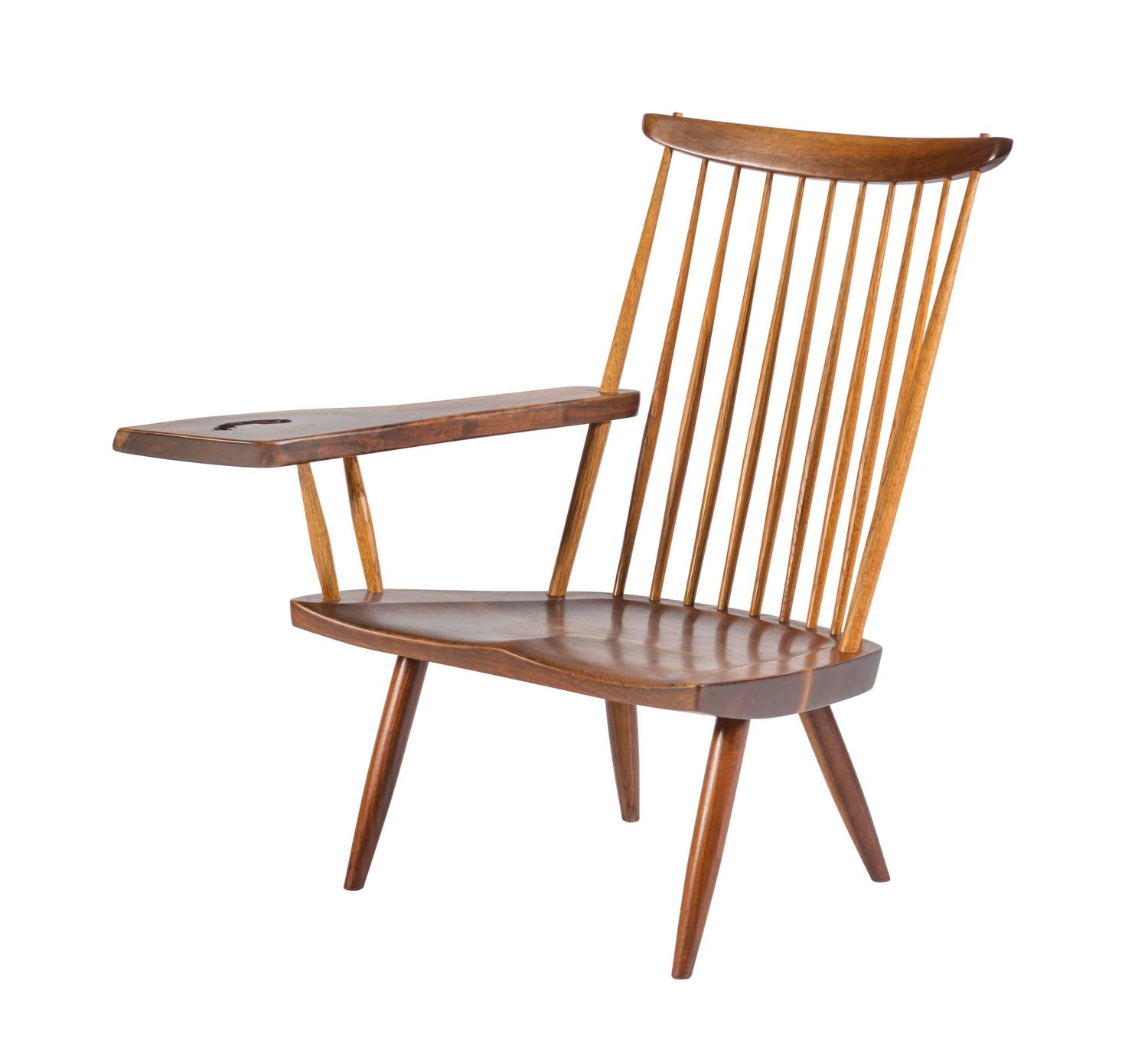 Nakashima lounge chair with single arm for sale at 1stdibs for Single lounge chairs for sale