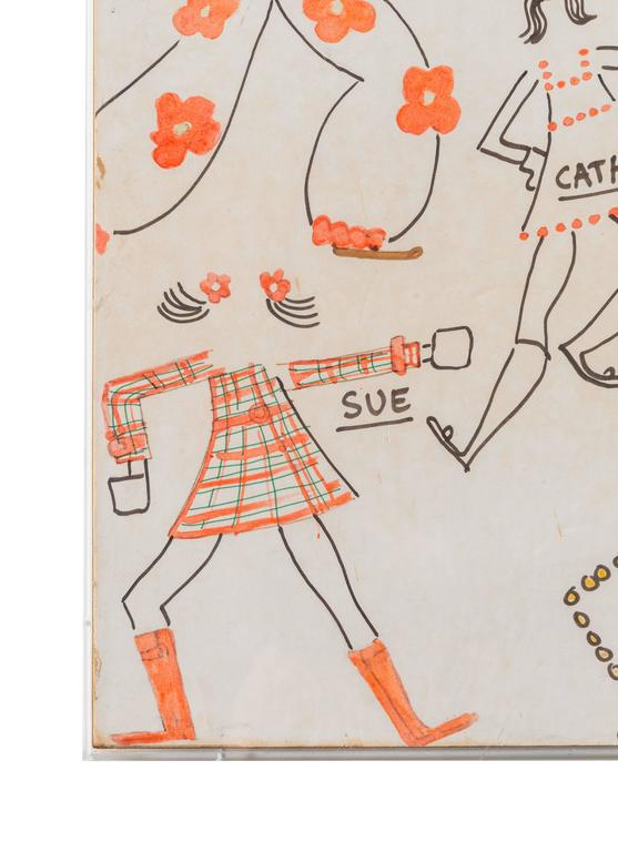 Mid-20th Century Original Model Drawing by André Courrèges for Diana Vreeland For Sale