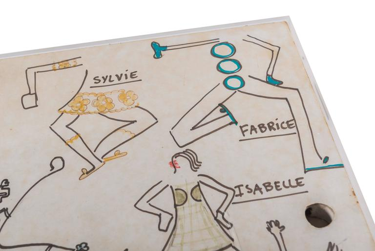 Paper Original Model Drawing by André Courrèges for Diana Vreeland For Sale