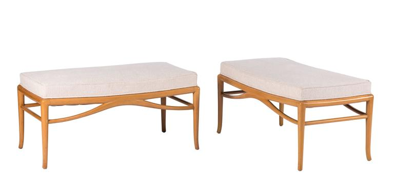 Pair of unique and custom Robsjohn-Gibbings benches for the White Shadow commission, a midcentury residence custom-built in Rancho Mirage, California, for Mr. and Mrs. Thomas B. Davis, circa 1956. This pair of benches are featured in a large spread