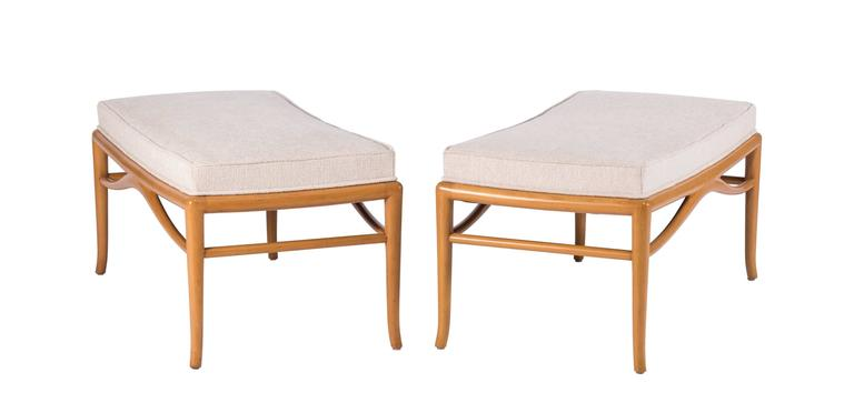 Mid-Century Modern Pair of Unique Custom Benches by Robsjohn-Gibbings For Sale