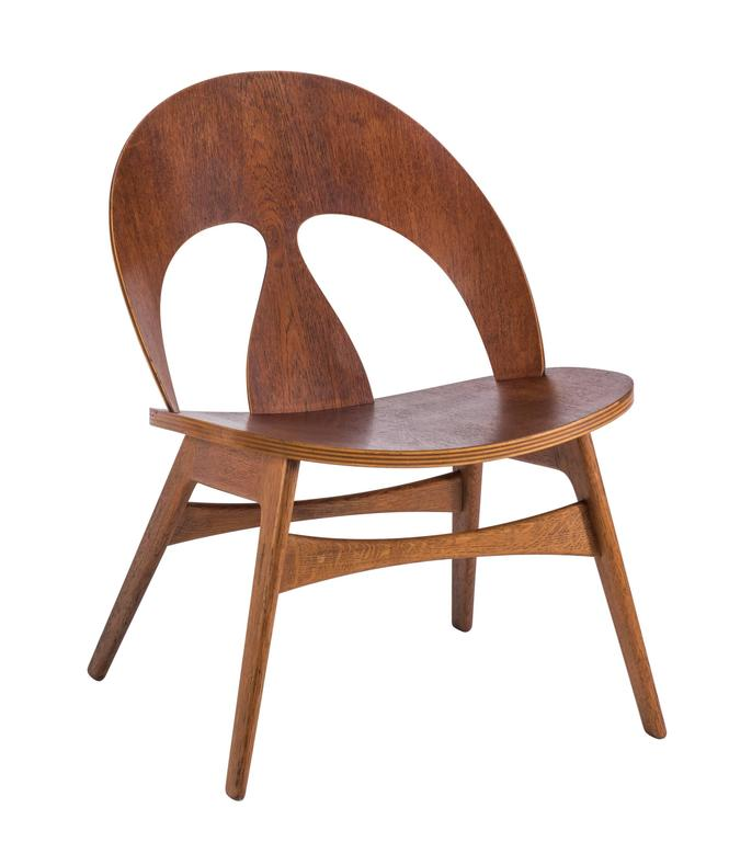 Danish Pair of Early Børge Mogensen Plywood Lounge Chairs for Erhard Rasmussen