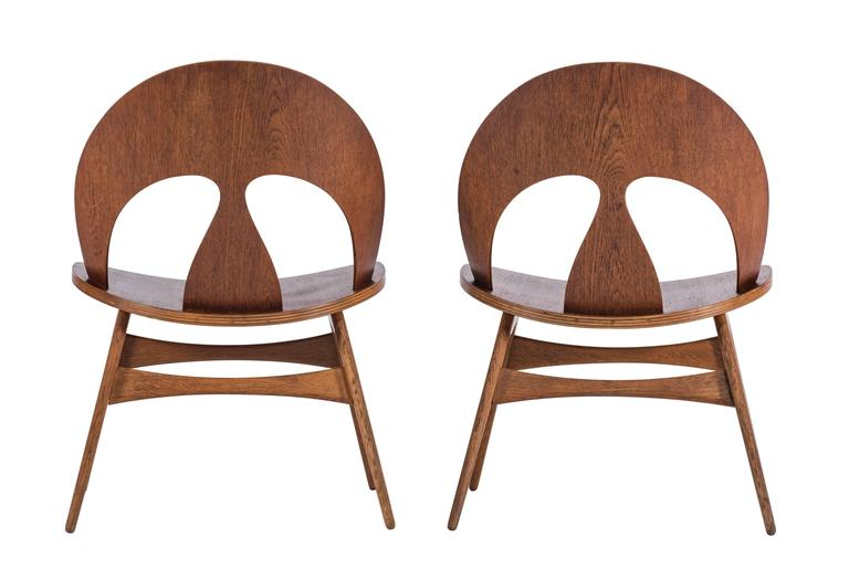 Pair of Early Børge Mogensen Plywood Lounge Chairs for Erhard Rasmussen 2